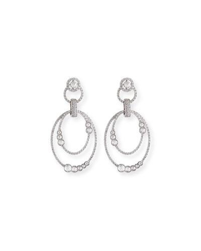 Double Oval Hoop Earrings with Diamonds