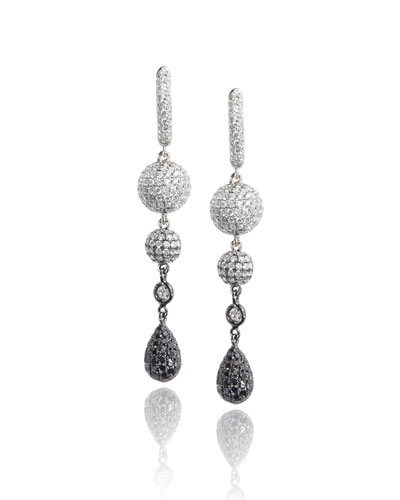 18K White Gold Sphere Drop Earrings with Black & White Diamonds
