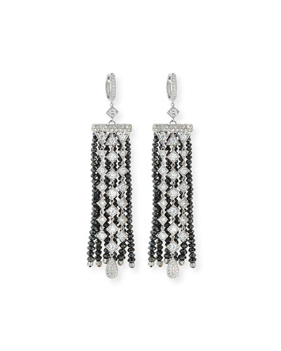 Black & White Diamond Fringe Drop Earrings