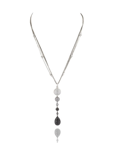 Black & White Diamond Teardrop Pendant Necklace