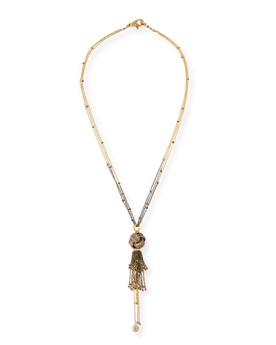 Brown & White Diamond Knot Chain Necklace