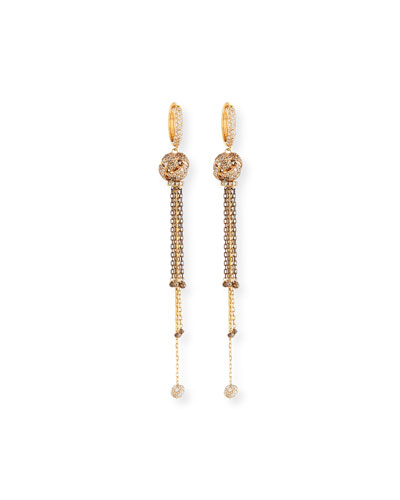 Brown & White Diamond Knot Tassel Earrings