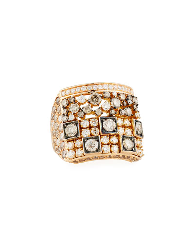 Brown & White Diamond Square Ring