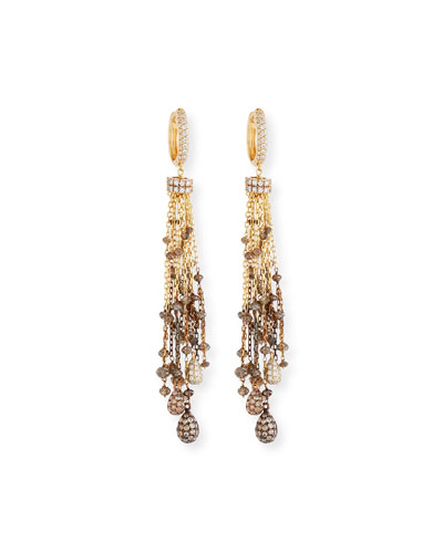 Brown & White Diamond Chain Tassel Drop Earrings
