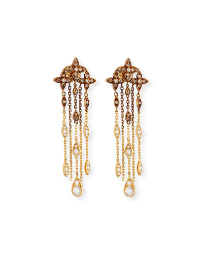 Brown & White Diamond Chain Drop Earrings