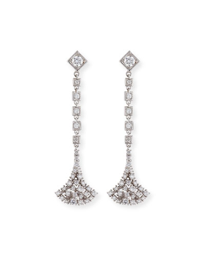 Fan-Shaped Diamond Dangle Earrings