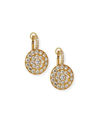 Quick Look Crivelli 18k Yellow Gold Diamond Disc Drop Earrings