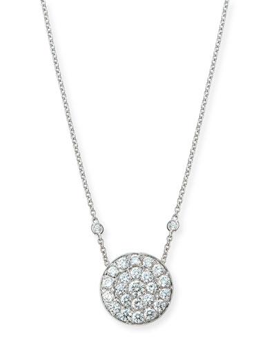 18K White Gold Diamond Disc Pendant Necklace