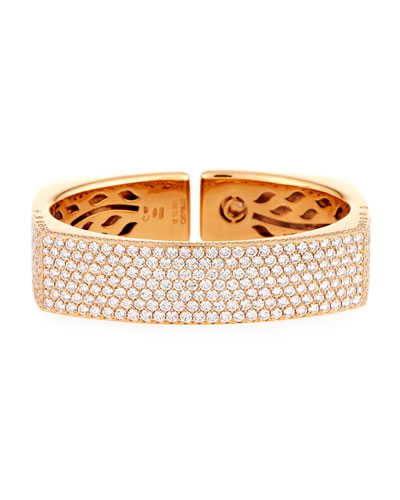 18K Rose Gold Square-Shaped Pavé Diamond Bangle