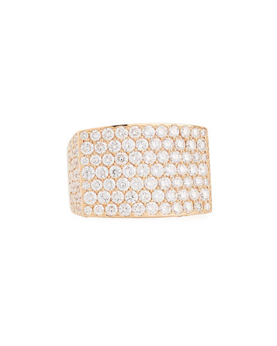 18K Rose Gold Pavé Diamond Square Ring