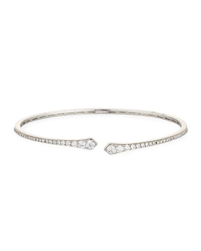 Brushed 18K White Gold Arrowhead Cuff Bracelet with Diamonds