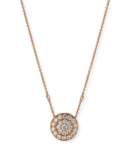 18K Rose Gold Diamond Disc Pendant Necklace