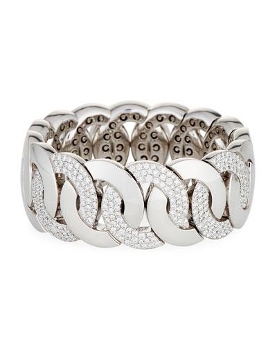 18K White Gold Stretchable Link Bracelet with Diamonds