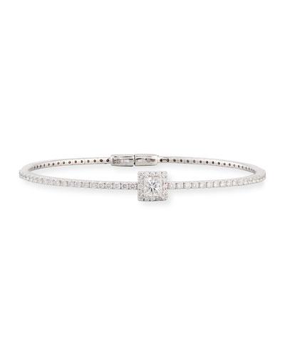 18K White Gold Princess-Shaped Diamond Station Bracelet