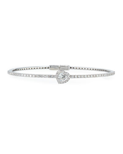 18K White Gold Heart-Shaped Diamond Station Bracelet