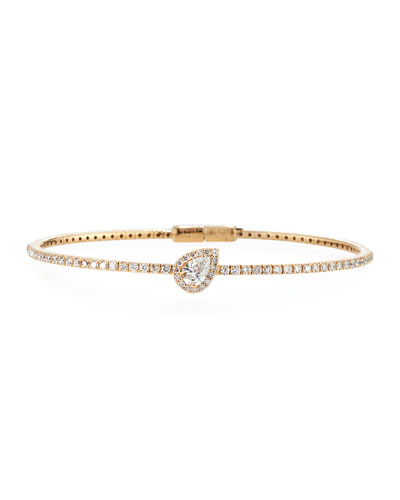 18K Rose Gold Pear-Shaped Diamond Station Bracelet