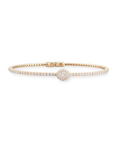 18K Rose Gold Oval Diamond Station Bracelet