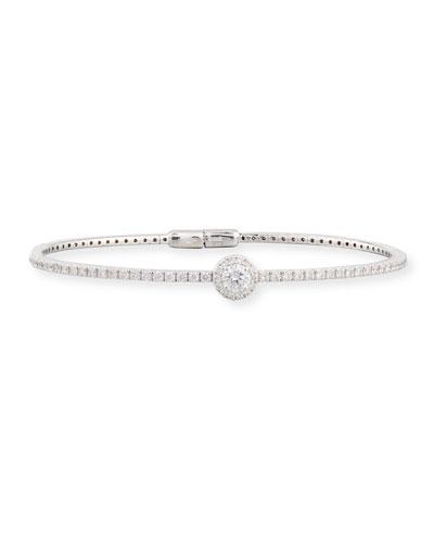 18K White Gold Round Diamond Station Bracelet