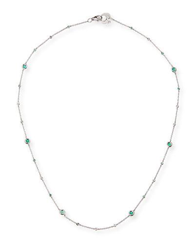 Capri 18K White Gold Necklace with Emeralds & Diamonds