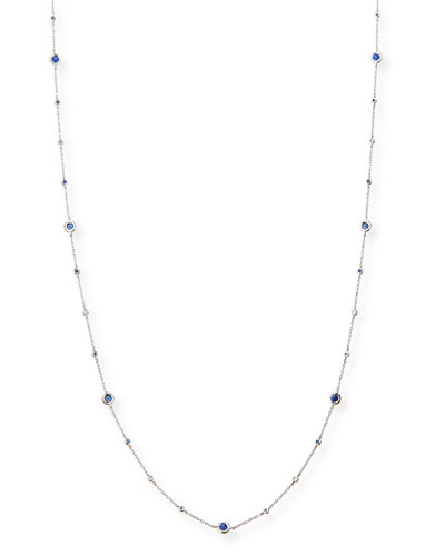 Capri 18K White Gold Necklace with Blue Sapphire & Diamonds