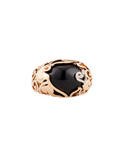 18K Rose Gold Rooster Ring with Black Jade & Diamonds