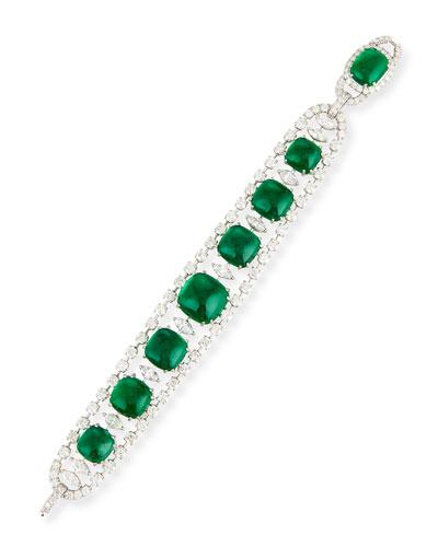Emerald Cabochon & Diamond Link Bracelet