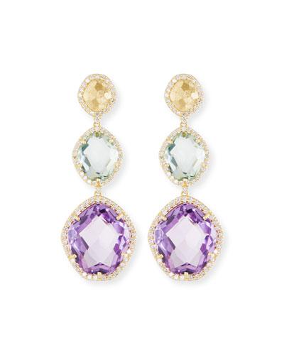 Amethyst, Prasiolite & Diamond Drop Earrings