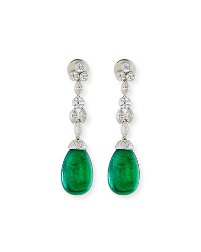 Emerald Cabochon Briolette Earrings with Diamonds