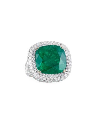 18k White Gold Emerald & Diamond Ring, Size 6.5