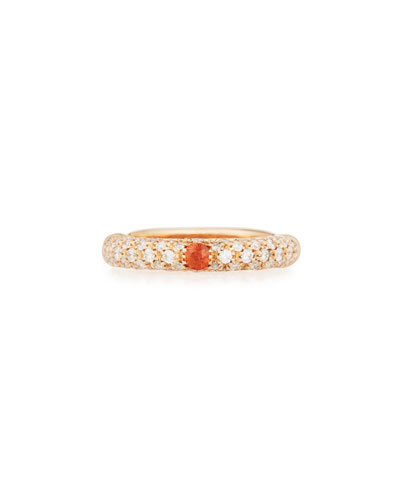 ADOLFO COURRIER 18K ROSE GOLD & DIAMOND RING WITH ONE ORANGE SAPPHIRE, SIZE 7