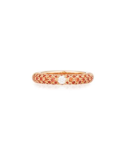 18K Rose Gold & Orange Sapphire Ring with One Diamond, Size 7