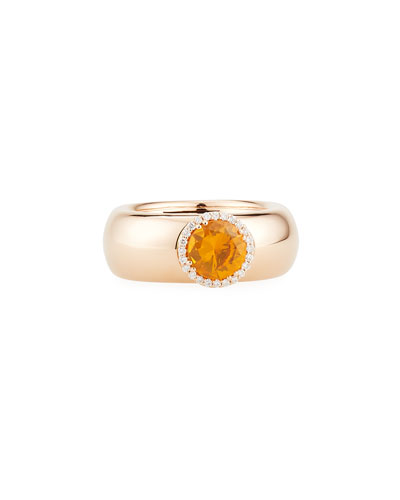 18K Rose Gold Band Ring with Orange Sapphire & Diamond Halo, Size 7.5