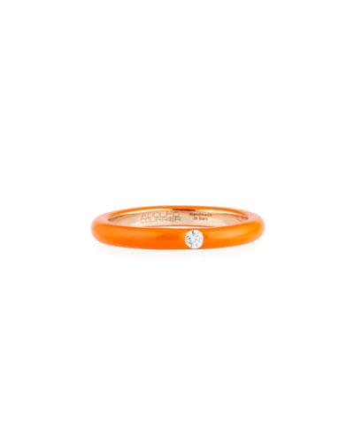 Orange Enamel & Diamond Ring in 18K Rose Gold, Size 7