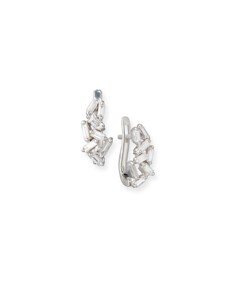 Suzanne Kalan Fireworks Mini Huggie Earrings in 18k White Gold