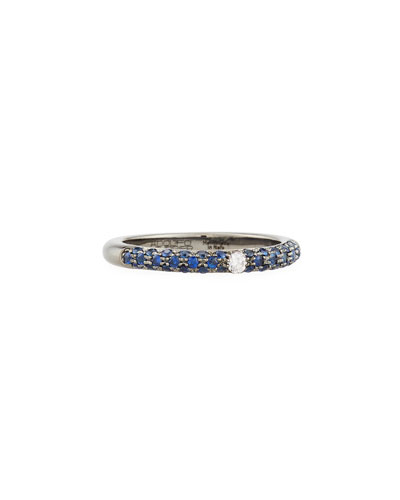 18K Blackened Gold Band Ring with Blue Sapphires & Diamond, Size 7