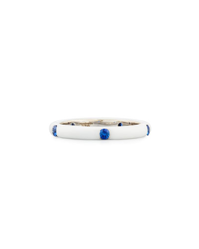 White Enamel Band Ring with Blue Sapphires, Size 7