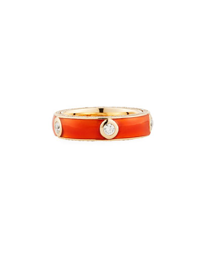Orange Enamel Band Ring with White Diamonds, Size 6.75