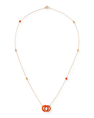 18k Link Pendant Necklace w/ Orange Sapphires & Diamonds