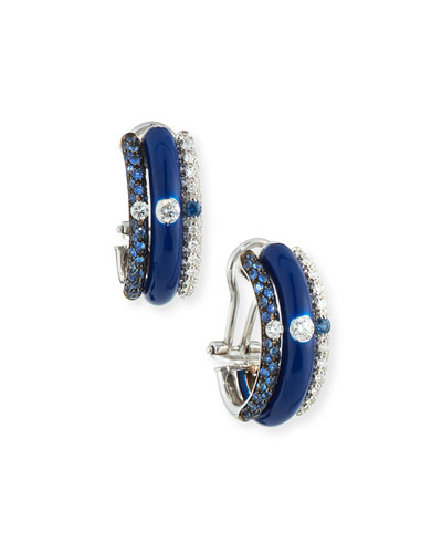 Blue Enamel & Sapphire Earrings with Diamonds