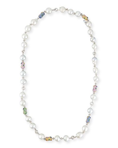 Baroque Pearl Necklace with Diamonds & Sapphires