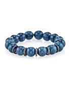12mm Blue Apatite Beaded Bracelet with Diamond Rondelles