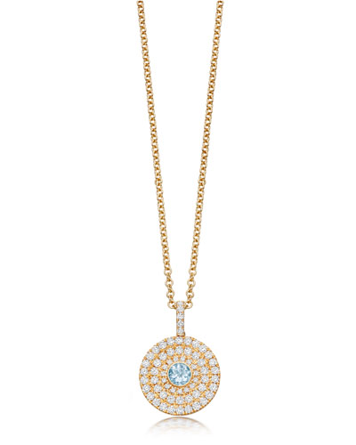 Fantasy 18K Gold Pendant Necklace with Blue Topaz & Diamonds