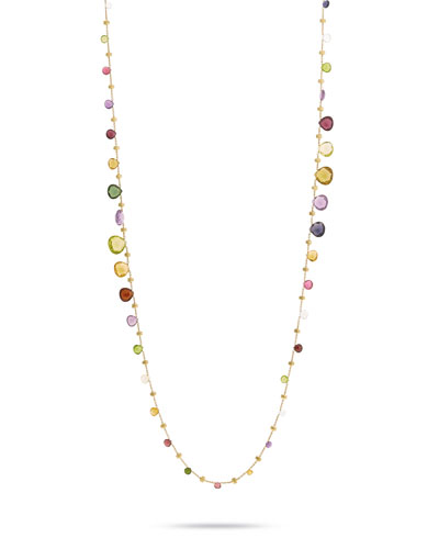 Paradise Graduated Long Necklace with Mixed Elevated Gemstones, 36