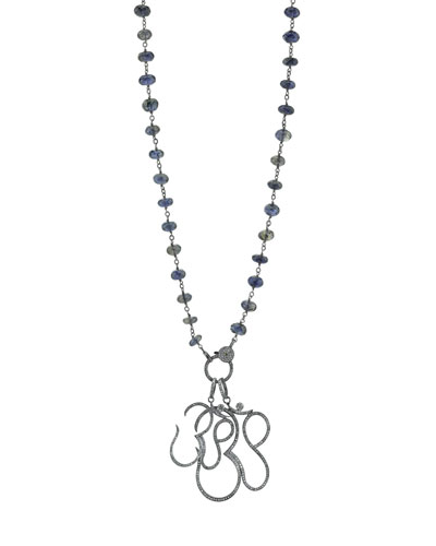 Iolite Beaded Necklace with Diamond Om Charms