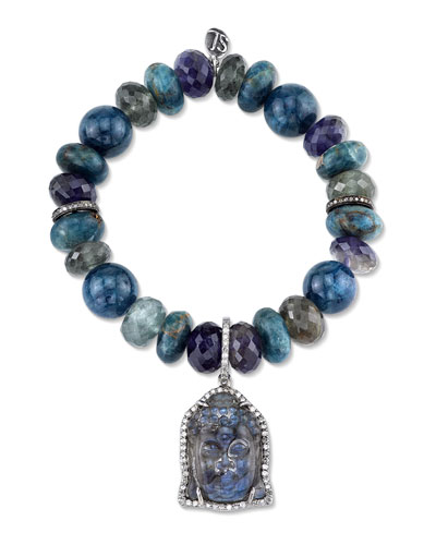 Beaded Apatite Bracelet with Carved Labradorite Buddha & Diamond Charm