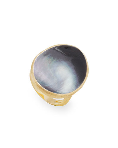 Lunaria Large Cocktail Ring with Black Mother-of-Pearl