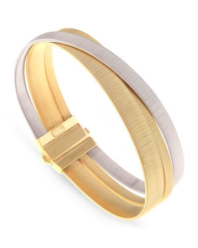 Masai Yellow & White Gold Three Strand Bracelet