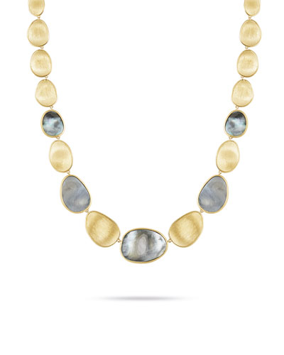 Lunaria 18k Gold Collar Necklace with Black Mother of Pearl