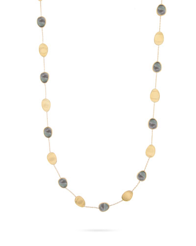 Lunaria Long Necklace with Black Mother-of-Pearl