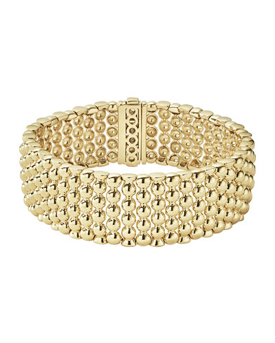Caviar Gold Collection 18K Gold Wide Beaded Bracelet